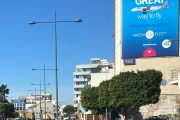Sky express launches its 1st destination abroad and communicates this initiative on one of the largest advertising surfaces in Cyprus.